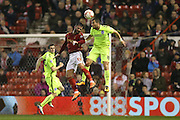 Brighton striker, Tomer Hemed (10) and Nottingham Forest defender Daniel Fox (13)during Nottingham Forest and Brighton and Hove Albion at the City Ground, Nottingham, England on 11 April 2016.
