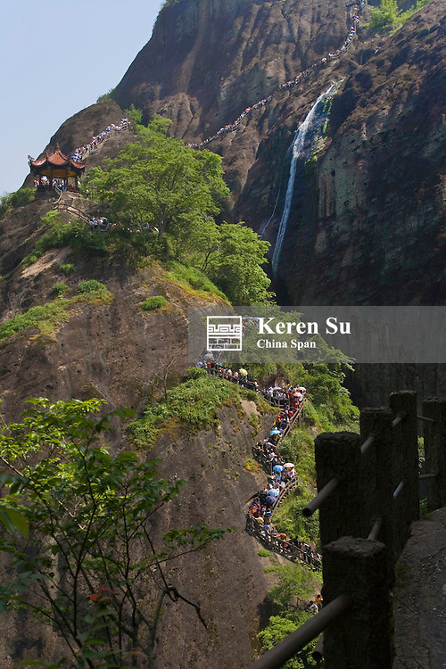 Tourists hike on Mt. Wuyi, Fujian Province, China