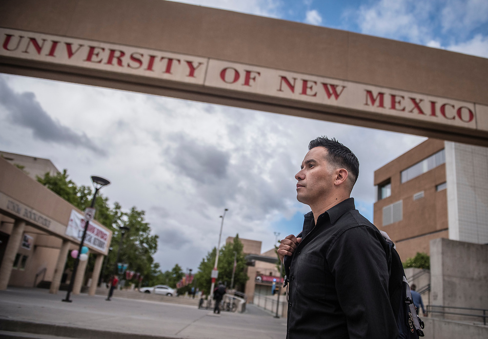 rer051017c/NM&amp;West/May 10, 2017/Albuquerque Journal<br /> UNM graduate profile on Jaime Cervantes, a 40-year old former drug addict who is getting his bachelor's degree in psychology on Saturday and closing in on his MBA.<br /> Roberto E. Rosales/Albuquerque Journal