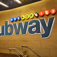 New York, US - 19 August 2015. Subway station New York entrance