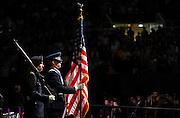 Members of the color guard present the American Flag at the start of the afternoon Undergraduate Commencement on Saturday, May 2, 2015.  Photo by Ohio University  /  Rob Hardin