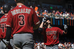 SAN FRANCISCO, CA - SEPTEMBER 17: J.D. Martinez #28 of the Arizona Diamondbacks celebrates after hitting a two run home run against the San Francisco Giants during the sixth inning at AT&T Park on September 17, 2017 in San Francisco, California. The San Francisco Giants defeated the Arizona Diamondbacks 7-2. (Photo by Jason O. Watson/Getty Images) *** Local Caption *** J.D. Martinez