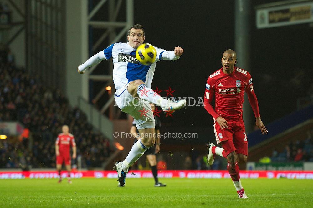 BLACKBURN, ENGLAND - Wednesday, January 5, 2011: Blackburn Rovers' Ryan Nelsen in action against Liverpool during the Premiership match at Ewood Park. (Pic by: David Rawcliffe/Propaganda)