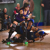 Rainy City Roller Dolls hosted the Oly Underground at the Rollerdrome, in Centralia Washington, on Saturday, Jan. 29, 2011.