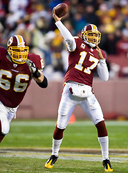 Washington Redskins quarterback Jason Campbell (17) throws a pass against Philadelphia. The Washington Redskins defeated the Philadelphia Eagles 10-3 in an NFL football game held at Fedex Field in Landover, Maryland on Sunday, December 21, 2008.