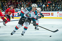 KELOWNA, CANADA - APRIL 8: Calvin Thurkauf #27 of the Kelowna Rockets skates with the puck against the Portland Winterhawks on April 8, 2017 at Prospera Place in Kelowna, British Columbia, Canada.  (Photo by Marissa Baecker/Shoot the Breeze)  *** Local Caption ***
