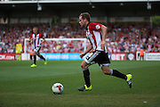 Alan Judge on a Brentford attack during the Sky Bet Championship match between Brentford and Ipswich Town at Griffin Park, London, England on 8 August 2015. Photo by Matthew Redman.