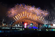 07.02.2014. Sochi, Krasnodar Krai, Russia. Fireworks explode over the top of the stadium arena during the Opening Ceremony of the XXII Olympic Winter Games at the Fisht Olympic Stadium