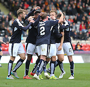 Greg Stewart is congratulated by team mates after scoring Dundee's winner - Partick Thistle v Dundee, Ladbrokes Premiership at Firhill<br /> <br />  - &copy; David Young - www.davidyoungphoto.co.uk - email: davidyoungphoto@gmail.com