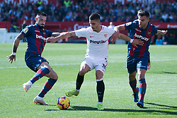 January 26, 2019 - Sevilla, Andalucia, Spain - Andre Silva of Sevilla FC and Rober Pier and Bardhi of Levante UD competes for the ball during the La Liga match between Sevilla FC v Levante UD at the Ramon Sanchez Pizjuan Stadium on January 26, 2019 in Sevilla, Spain  (Credit Image: © Javier MontañO/Pacific Press via ZUMA Wire)