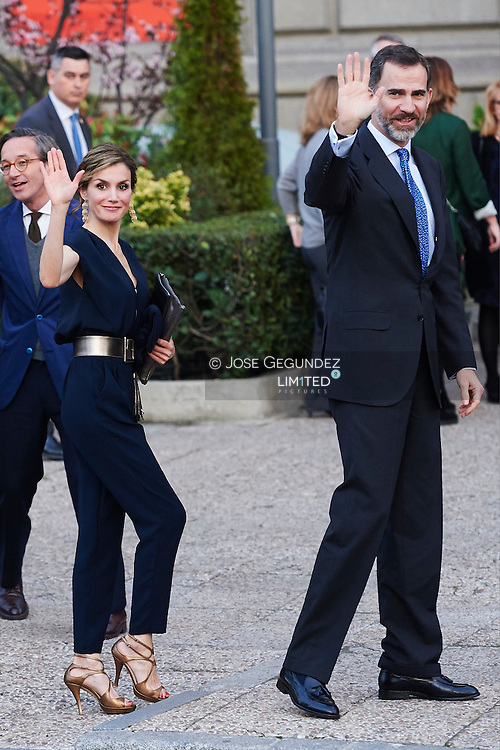 King Felipe VI of Spain and Queen Letizia of Spain attended the Opening of the exhibition 'Teresa de Jesus: The proof of my truth' at National Library on March 11, 2015 in Madrid