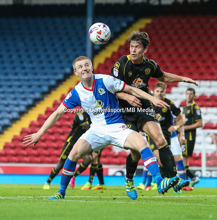 Blackburn Rovers' Scott Wharton holds off a challenge from Crewe Alexandra's Billy Bingham<br /> <br /> Photographer Alex Dodd/CameraSport<br /> <br /> The EFL Cup Second Round - Blackburn Rovers v Crewe Alexandra - Tuesday 23 August 2016 - Ewood Park - Blackburn<br />  <br /> World Copyright &copy; 2016 CameraSport. All rights reserved. 43 Linden Ave. Countesthorpe. Leicester. England. LE8 5PG - Tel: +44 (0) 116 277 4147 - admin@camerasport.com - www.camerasport.com