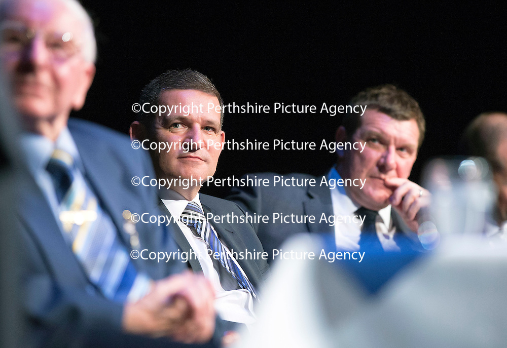 St Johnstone Hall of Fame Dinner, Perth Concert Hall...05.10.13<br /> St Johnstone Chairman Steve Brown an Manager Tommy Wright watch the awards<br /> Picture by Graeme Hart.<br /> Copyright Perthshire Picture Agency<br /> Tel: 01738 623350  Mobile: 07990 594431