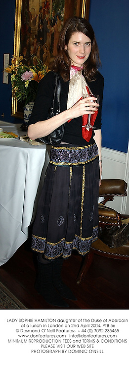 LADY SOPHIE HAMILTON daughter of the Duke of Abercorn at a lunch in London on 2nd April 2004.PTB 56
