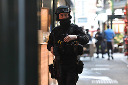 © Licensed to London News Pictures. 29/11/2019. London, UK. An armed police officer at Borough Market.  Emergency response agencies react to a major incident on London Bridge, evacuating nearby Borough Market and office blocks as shots are fired near a bus..  Photo credit: Guilhem Baker/LNP