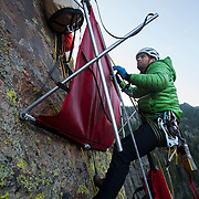 Climbing instructor Brett Bloxom of Kent Mountain Adventure Centre (KMAC) breaks down the portaledge before the decent