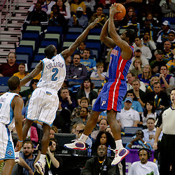 Dec 16, 2009; New Orleans, LA, USA; Detroit Pistons guard Rodney Stuckey (3) shoots over New Orleans Hornets guard Darren Collison (2) during the first half at the New Orleans Arena. Mandatory Credit: Derick E. Hingle-US PRESSWIRE