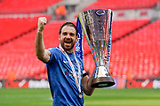 Brett Pitman of Portsmouth celebrates winning the EFL Checkatrade Trophy during the EFL Trophy Final match between Portsmouth and Sunderland at Wembley Stadium, London, England on 31 March 2019.