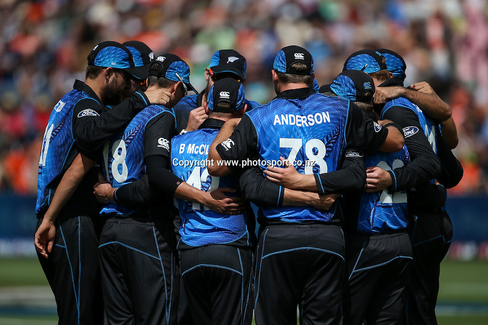 New Zealand team huddle ahead of the ICC Cricket World Cup match - New Zealand v Bangladesh played at Seddon Park, Hamilton, New Zealand on Friday 13 March 2015.  Photo:  Bruce Lim / www.photosport.co.nz