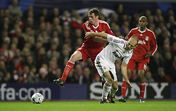 Jamie Carragher and Arjen Robben battle for possession, .Uefa Champions League, First knock-out round, second leg. Liverpool v Real Madrid.Anfield, 10.03.09