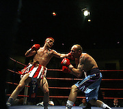 ABERDEEN BOXER LEE McALLISTER (RED/WHITE SHORTS) V  STUART GREEN FOR THE SCOTTISH LIGHTWEIGHT TITLE, AT ABERDEEN BEACH BALLROOM ON SATURDAY (27TH MAY) NIGHT. McALLISTER WON IN THE EIGHTH ROUND AFTER THE REF STOPPED THE MATCH..PIC SAM HARDIE/NEWSLINE..