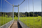 Suspension footbridge, Wye River in Sellack, Herefordshire, England, United Kingdom