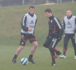LIVERPOOL, ENGLAND - Friday, March 28, 2008: Liverpool's Jamie Carragher and Xabi Alonso training at Melwood ahead of the Merseyside Derby match against Everton. (Photo by David Rawcliffe/Propaganda)