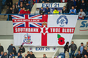 Rangers fans fly a flag during the Europa League Play Off leg 2 of 2 match between Rangers FC and Legia Warsaw at Ibrox Stadium, Glasgow, Scotland on 29 August 2019.