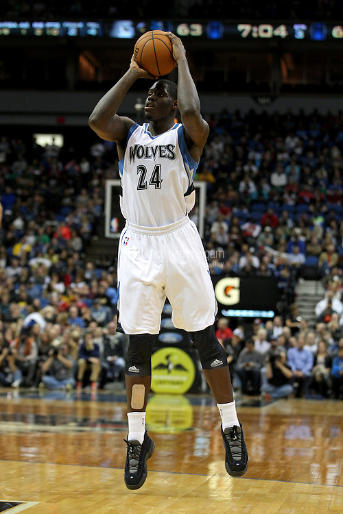 Nov 1, 2014; Minneapolis, MN, USA; Minnesota Timberwolves forward Anthony Bennett (24) shoots during the third quarter against the Chicago Bulls at Target Center. The Bulls defeated the Timberwolves 106-105. Mandatory Credit: Brace Hemmelgarn-USA TODAY Sports