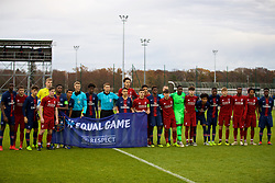 SAINT-GERMAIN-EN-LAYE, FRANCE - Wednesday, November 28, 2018: Liverpool and Paris Saint-Germain players stand for a UEFA Equal Game photo during the UEFA Youth League Group C match between Paris Saint-Germain Under-19's and Liverpool FC Under-19's at Stade Georges-Lefèvre. (Pic by David Rawcliffe/Propaganda)