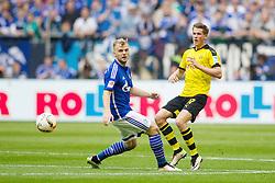 10.04.2016, Veltins Arena, Gelsenkirchen, GER, 1. FBL, Schalke 04 vs Borussia Dortmund, 29. Runde, im Bild Erik Durm (Borussia Dortmund #37) und Johannes Geis (FC Schalke 04 #5) // during the German Bundesliga 29th round match between Schalke 04 and Borussia Dortmund at the Veltins Arena in Gelsenkirchen, Germany on 2016/04/10. EXPA Pictures © 2016, PhotoCredit: EXPA/ Eibner-Pressefoto/ Schueler<br /> <br /> *****ATTENTION - OUT of GER*****