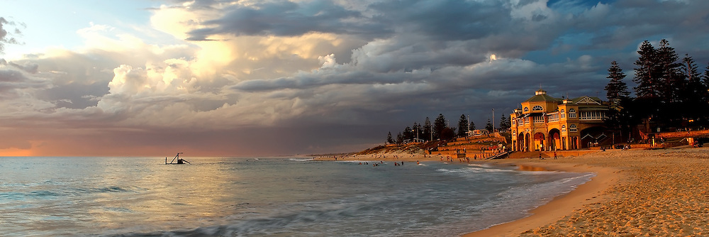 Cottesloe sunset, landscape, seascape photographs in panoramic format where the length is 3 times the width.