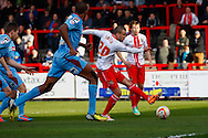 Jimmy Smith of Stevenage (20) scores the opening goal during the Sky Bet League 1 match at the Lamex Stadium, Stevenage<br /> Picture by David Horn/Focus Images Ltd +44 7545 970036<br /> 08/03/2014