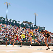 The 2014 USA Track and Field  Championships in Sacramento: men's 110 meter hurdles, Devon Allen (#3), winner at the line.
