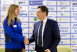 Anita Horvat and Roman Dobnikar, president of AZS at press conference of Athletic association Slovenia before IAAF World Indoor Championship Birmingham 2018, on February 22, 2017 in Ljubljana, Slovenia. Photo by Urban Urbanc / Sportida
