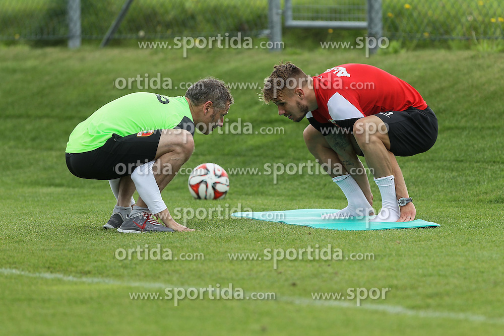 29.07.2014, Walchsee, AUT, 1. FBL, FS Vorbereitung, FC Augsburg Trainingslager, im Bild Ronny Philp (FC Augsburg #3), Reha-Training mit Richard Wagner (Physiotherapeut FC Augsburg), // during the Preparation Camp of the German Bundesliga Club FC Augsburg at the Walchsee, Austria on 2014/07/29. EXPA Pictures &copy; 2014, PhotoCredit: EXPA/ Eibner-Pressefoto/ Krieger<br /> <br /> *****ATTENTION - OUT of GER*****