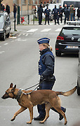 Nov. 16, 2015 - Brussels, BELGIUM - <br /> BRUSSELS, BELGIUM:<br /> <br /> Search for Paris Terror Suspect in Brussels<br /> <br /> A policewoman and her dog patrol as security forces search for terror suspects at a house on Rue Delaunoy in Molenbeek-Saint-Jean. Weekend searches were carried out and multiple people were arrested in relation to Friday's terrorist attacks in Paris. <br /> ©Exclusivepix Media