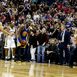 Dec 13, 2016; New Orleans, LA, USA;  Golden State Warriors forward Draymond Green (23) reacts after stealing the ball from New Orleans Pelicans forward Anthony Davis (23) during the fourth quarter of a game at the Smoothie King Center. The Warriors defeated the Pelicans 113-109. Mandatory Credit: Derick E. Hingle-USA TODAY Sports