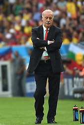 18-06-2014 BRA: World Cup Spanje - Chili, Rio Janeiro<br /> Chili wint met 2-0 van Spanje die door deze uitslag is  uitgeschakeld / Spain's coach Vicente del Bosque reacts <br /> <br /> *** NETHERLANDS ONLY ***