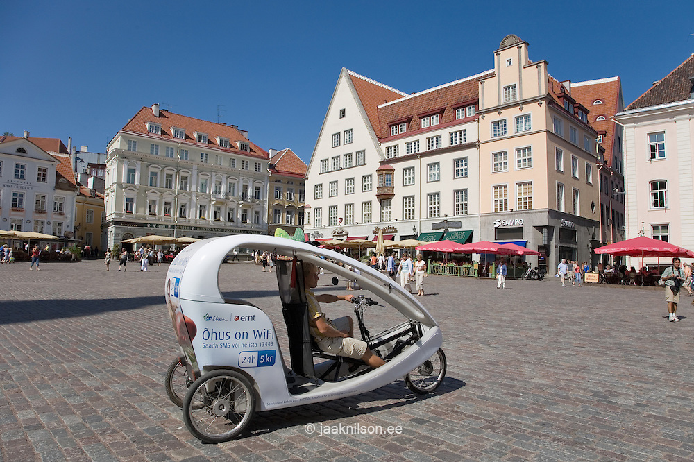 Modern Velotaxi, Town Hall Square in Tallinn, Estonia
