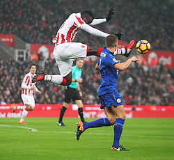 Mame Biram Diouf of Stoke City (L) in action - Mandatory by-line: Jack Phillips/JMP - 17/12/2016 - FOOTBALL - Bet365 Stadium - Stoke-on-Trent, England - Stoke City v Leicester City - Premier League