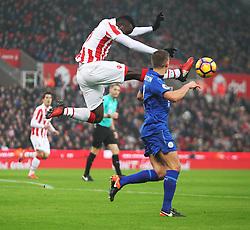 Mame Biram Diouf of Stoke City (L) in action - Mandatory by-line: Jack Phillips/JMP - 17/12/2016 - FOOTBALL - Bet365 Stadium - Stoke-on-Trent, England - Stoke City v Leicester City - Premier League