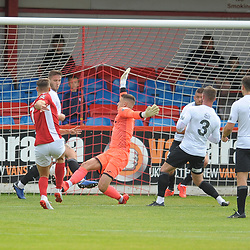 TELFORD COPYRIGHT MIKE SHERIDAN GOAL. Matt Lowe beats Andy Wycherley of Telford to make it 1-0 during the National League North fixture between Brackley Town and AFC Telford United at St James's Park on Saturday, September 7, 2019<br /> <br /> Picture credit: Mike Sheridan<br /> <br /> MS201920-016
