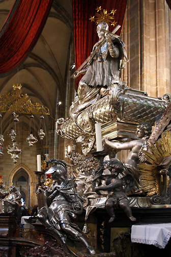 crypt; St. John Nepomuk 1340-1393; 2 tons of silver; St. Vitas Cathedral; Prague; Czech Republic
