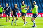 Hamish Watson (Edinburgh) (smiling) and Sean Maitland (with yellow bib) during the Scotland Rugby training run ahead of their match against France at BT Murrayfield Stadium, Edinburgh, Scotland on 23 August 2019.