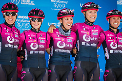 May 18, 2018 - South Lake Tahoe, California, U.S - Friday, May 18, 2018.Members of Team BePink (ITA) smile as they are introduced prior to Stage 2 of the Amgen Tour of California Women's Race empowered with SRAM, which starts and finishes in South Lake Tahoe, California, near Heavenly Ski Resort...... ..Stage 2 Podium..1. Katie Hall (USA), UnitedHealthcare Pro Cycling Team (USA) 3h06'41''..2. Tayler Wiles (USA), Trek-Drops (GBR) +25''..3. Kasia Niewiadoma (POL),CANYON//SRAM Racing +1'01''.. ..Jersey Winners after Stage 2:.Amgen Race Leader Jersey Ð Katie Hall (USA), UnitedHealthcare Pro Cycling Team (USA)..Breakaway from Heart DiseaseTM Most Courageous Rider Jersey Ð Lily Williams (USA), Hagens Berman | Supermint Pro Cycling (USA)..Lexus Queen of the Mountain (QOM) Jersey Ð Katie Hall (USA), UnitedHealthcare Pro Cycling Team (USA)..Visit California Sprint Jersey Ð Katie Hall (USA), UnitedHealthcare Pro Cycling Team (USA)..TAG Heuer Best Young Rider Jersey Ð Sara Poidevin (CAN), Rally Cycling  (Credit Image: © Tracy Barbutes via ZUMA Wire)