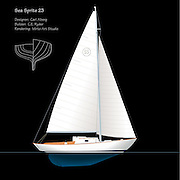 Vector rendering of the classic Alberg designed Sea Sprite 23 sailboat.  The rendering shows the full profile of the Sea Sprite with sail plan and hull design.