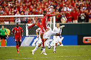 July 18 2009: Gabriel Gomez of Panama comes to ground after heading the ball during the game between USA and Panama. The United States defeated Panama 2-1 in added extra time in a CONCACAF Gold Cup quarter-final match at Lincoln Financial Field in Philadelphia, Pennsylvania.