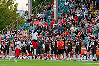 KELOWNA, BC - AUGUST 17:  Brycen Mayoh #4 of Westshore Rebels misses a catch in front of the Okanagan Sun team bench at the Apple Bowl on August 17, 2019 in Kelowna, Canada. (Photo by Marissa Baecker/Shoot the Breeze)