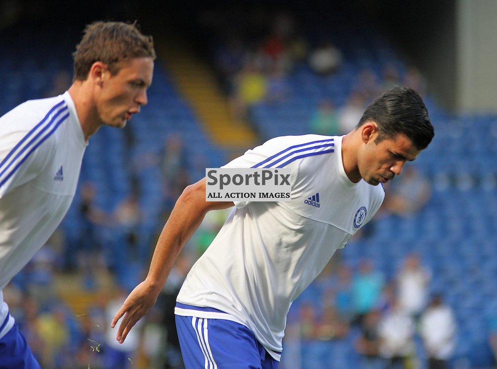 Diego Costa warms up with Nemanja Matic During Chelsea vs Swansea on the 8th August 2015.